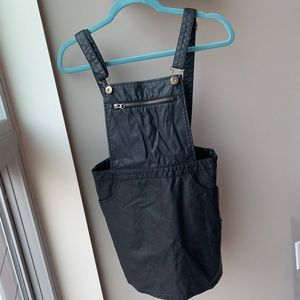 Forever 21 faux leather overalls dress size small